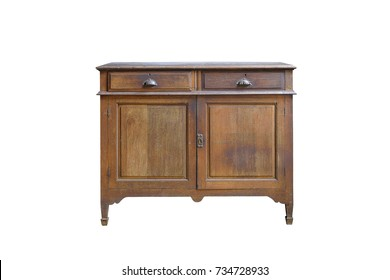Vintage cabinet with two drawers and two doors with simple wooden carvings isolated on white background. Clipping path included.