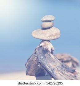 Vintage cairn symbolizes harmony of nature