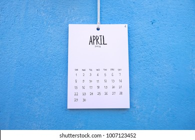 Vintage calendar 2018 handmade hang on the blue wall, April 2018