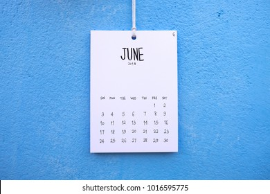 Vintage calendar 2018 handmade hang on the blue wall, June 2018