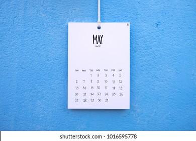 Vintage calendar 2018 handmade hang on the wall, May 2018
