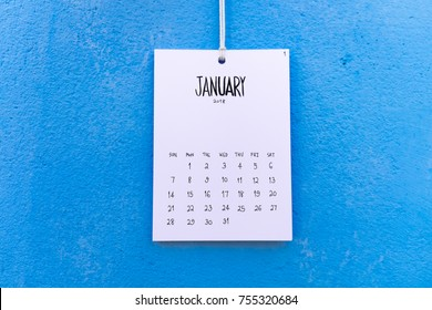 Vintage calendar 2018 handmade hang on the blue wall, January 2018