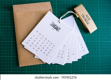 Vintage calendar 2018 handmade on green background with envelope