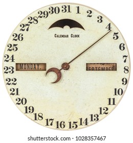 Vintage calendar clock with day of the month and month indication isolated on a white background