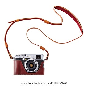 vintage camera isolate on white background, Old rangefinder