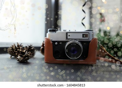Vintage camera lies on a table