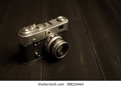 vintage camera sepia styled photo