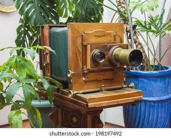 Vintage camera in stylized studio