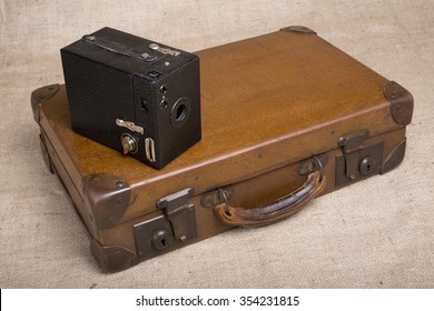 Vintage Camera And Suitcase