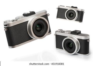 vintage cameras on white