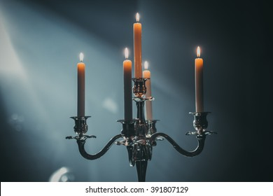 Vintage candlestick with candles