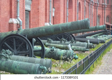 Vintage cannons at the front of the Peter and Paul fortress in Saint-Petersburg. Crownwork.