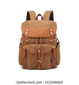 Vintage Canvas Backpack Isolated on White Background. Front View of Satchel Rucksack with Zippered Compartment. Travel Camping Daypack. Brown School Bag with Shoulder Straps and Haul Loop at the Top