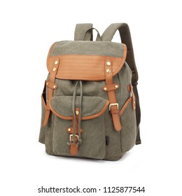 Vintage Canvas Backpack Isolated on White Background. Side View of Satchel Rucksack with Zippered Compartment. Travel Camping Daypack. Brown and Green School Bag with Shoulder Straps and Haul Loop