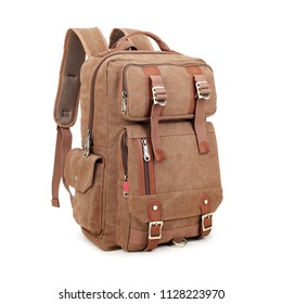 Vintage Canvas Backpack Isolated on White Background. Front View of Satchel Rucksack with Zippered Compartment. Brown School Bag with Shoulder Straps and Haul Loop at the Top. Travel Camping Daypack