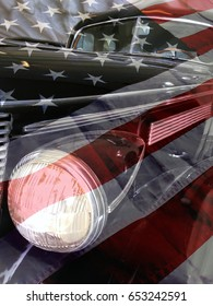 Vintage car and american flag retro styled background