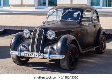 Vintage car BMW-321. Orenburg, Russia - May, 8, 2019: Retro car in a parking lot near the building of the railway station