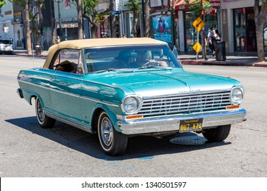 Vintage car Chevrolet Convertible on Hollywood Boulevard, California, USA, 07-24-2018