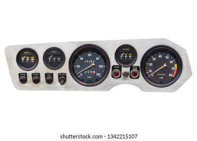 Vintage car cockpit with meters isolated on a white background