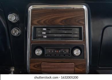 Vintage car dashboard and radio