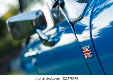 vintage car detail - side union jack badge