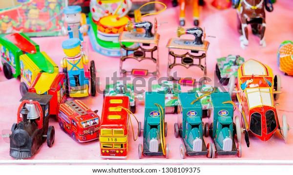 Vintage Car Train Robot Toys Sale Stock Photo (Edit Now