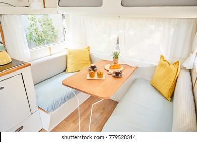 vintage caravan inside (retro design camper)