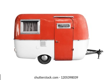 vintage caravan railer isolated on white background