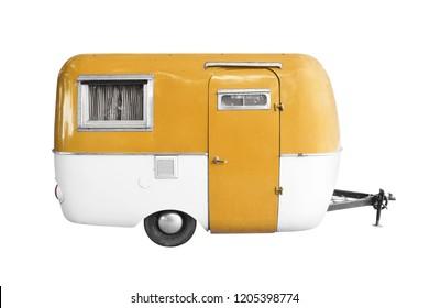 vintage caravan trailer isolated on white background