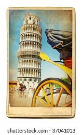 vintage cards - European landmarks - Pisa