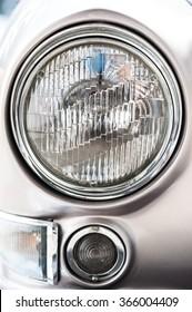 Vintage car,head light close up