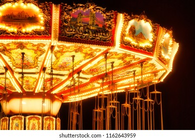 Vintage Carousel detail by night