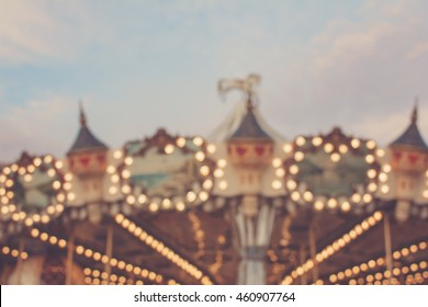 Vintage carrousel - Blurred merry-go-round - Dreamy magical blurred shape of a carousel