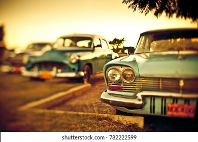 Vintage cars in Cuba shot with tilt shift lens