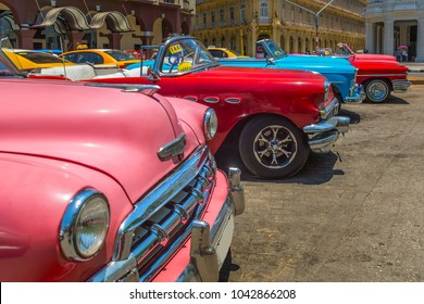 Vintage cars at Parque Central in Havana, Cuba