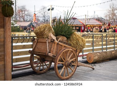 Vintage cart with christmas tree,decorations details