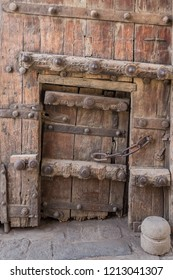 Vintage carved wooden door from a fort in India