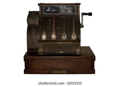 Vintage Cash Register with Clipping Path