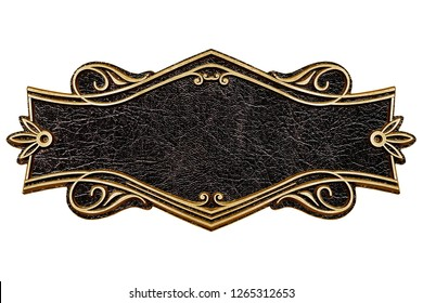 Vintage cast leather plate isolated on white background