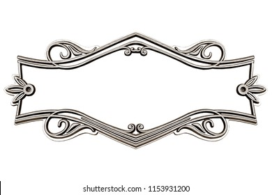 Vintage cast metal frame isolated on white background