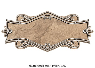 Vintage cast stone plate isolated on white background