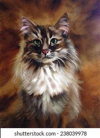 Vintage Cat painting