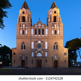Vintage catholic church in the late evening. Poland.