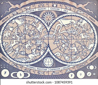 Vintage celestial map depicting planets, constellations and signs of the Zodiac on Italy 2000 lira (1983) banknote closeup macro, Italian money close up.