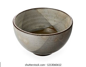 Vintage ceramic bowl,  Empty brown bowl isolated on white background with clipping path, Side view