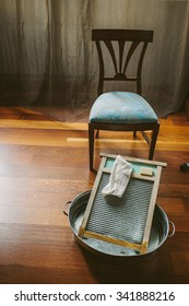 Vintage chair and washboard with soap