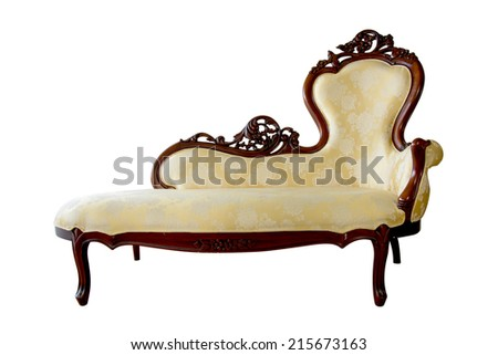 Vintage Chaise Lounge Isolated On White
