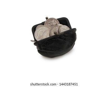 Vintage Change Pouch Filled With US Silver Coins Over White Background