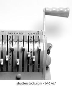 Vintage Checkwriter (closeup, BW)