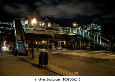 Vintage Chicago elevated CTA train subway station at night